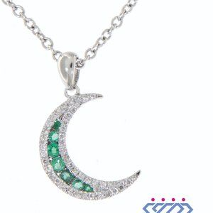 Solid Emerald Half Moon Diamond Pendant White Gold